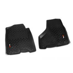 12-14 Dodge Ram 1500-3500 Crew Cab w/1, 2 Hook Black Front Floor Liner SET (Rugged Ridge)