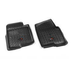 11-14 Ford F150 w/1, 2 Hook Black Front Floor Liner SET (Rugged Ridge)