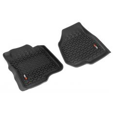 11-12 Ford F250SD, F350SD w/Dep Dead Pedal & Elect 4WD Black Front Floor Liner SET (Rugged Ridge)