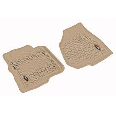 11-12 Ford F250SD, F350SD w/Dep Dead Pedal & Elect 4WD Tan Front Floor Liner SET(Rugged Ridge)