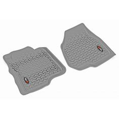 11-12 Ford F250SD, F350SD w/Dep Dead Pedal & Elect 4WD Gray Front Floor Liner SET (Rugged Ridge)