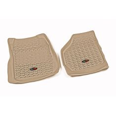 99-07 Ford F250SD, F350SD w/Elect 4WD Tan Front Floor Liner SET (Rugged Ridge)