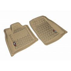 11 Dodge Durango, Jeep Grand Cherokee w/1 RH Hook Tan Front Floor Liner SET (Rugged Ridge)