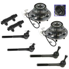 95-00 GM FS Truck SUV w/4WD Front Wheel Bearing & Hub Assy w/Tie Rod Kit (Set of 8)