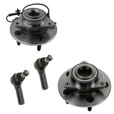 06-08 Dodge 1500 w/RWAL (w/Eng Spd Sensor) Front Wheel Hub & Bearing w/Outer Tie Rod Kit (Set of 4)