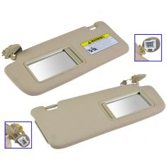 07-09 Hyundai Santa Fe (w/o Sunroof) Beige Sun Visor w/Integrated Lighted Mirror & Extender PAIR(HY)