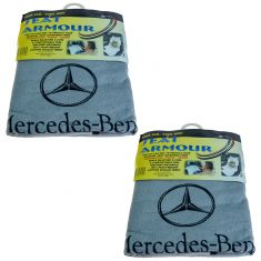 70-15 ~Mercedes Benz~ Logoed ~Seat Armour~ Gray Cotton Terry/Velour Bucket Seat Cover Pair (MB)