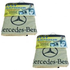 70-15 ~Mercedes Benz~ Logoed ~Seat Armour~ Beige Cotton Terry/Velour Bucket Seat Cover Pair (MB)