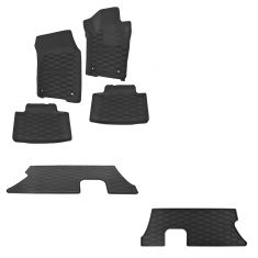 13-15 Dodge Durango (1st, 2nd, 3rd Row) Logoed Molded Black Rubber Floor Mat Kit (Set of 5) (Mopar)