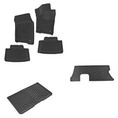 13-15 Dodge Durango (1st, 2nd, 3rd Row & Cargo) Molded Black Rubber Floor Mat Kit (Set of 6) (Mopar)