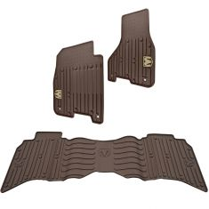 13-16 Ram 1500-3500 Crew Cab ~Rams Head~ Logoed Canyon Brown Slush Floor Mat Kit (Set of 3) (MP)