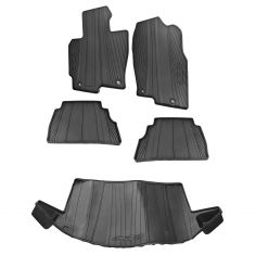 13-16 Mazda CX-5 Molded Black Rubber All Weather Front Rear Cargo Floor Mat Kit (Set of 5) (Mazda)