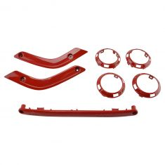 11-16 Jeep Wrangler 2 Door Flame Red Interior Accent Trim Kit (Set of 7) (Mopar)