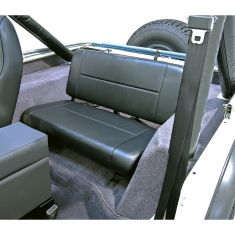 Fixed Rear Seat, Black, 55-95 Jeep CJ and Wrangler