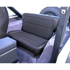 Fold and Tumble Rear Seat, Black Denim, 76-95 Jeep CJ and Wrangler