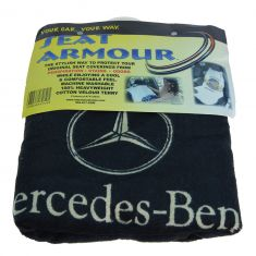 70-15 ~Mercedes Benz~ Logoed ~Seat Armour~ Black Cotton Terry/Velour Bucket Seat Cover LF = RF (MB)