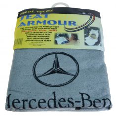 70-15 ~Mercedes Benz~ Logoed ~Seat Armour~ Gray Cotton Terry/Velour Bucket Seat Cover LF = RF (MB)
