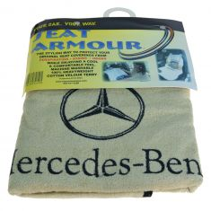 70-15 ~Mercedes Benz~ Logoed ~Seat Armour~ Beige Cotton Terry/Velour Bucket Seat Cover LF = RF (MB)