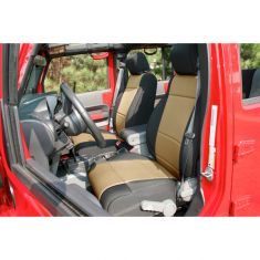 Neoprene Front Seat Covers, Black and Tan, 11-14 Jeep Wrangler (JK)