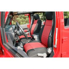 Neoprene Front Seat Covers, Black and Red, 11-14 Jeep Wrangler