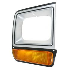 86-89 Dodge D/W 100; 86-90 D/W150, 250, 350, Ramcharger Silver Headlight Bezel w/Parking Light RF
