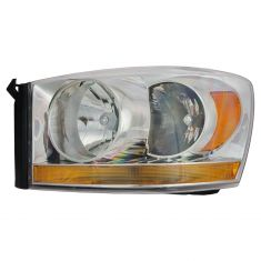 06-08 Dodge Pickup Headlight w/Chrome Bezel & Amber Bar LH