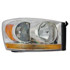 06-08 Dodge Pickup Headlight w/Chrome Bezel & Amber Bar RH