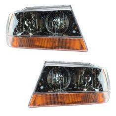 2002 Jeep Grand Cherokee Laredo Headlight Pair With Amber Lens. 99 04 Gr  Cher Laredo Headlights Pair