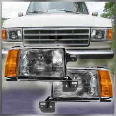 1987-91 Ford Truck Headlight with Chrome trim Pair