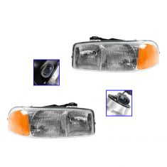 1999-02 Sierra Composite Headlight Pair