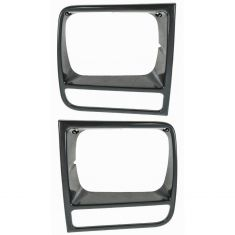 1997-01 Jeep Cherokee Blk Headlight Bezel Pair