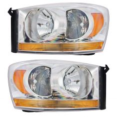 06-08 Dodge Pickup Headlight w/Chrome Bezel & Amber Bar PAIR