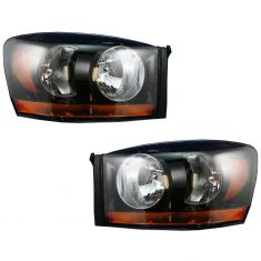 06-08 Dodge Pickup Headlight w/Black Bezel & Amber Bar PAIR