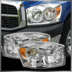 06-08 Dodge Ram PU Headlight w/o Amber Bar PAIR