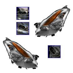 2008-09 Nissan Altima Coupe Halogen Headlight Pair