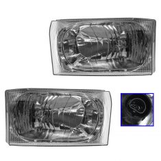 02-04 Ford Excursion Super Duty Headlight with Clear Lens Pair