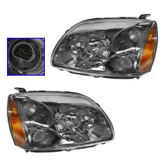 04-10 Mitsubishi Galant Halogen Headlight w/Dark Bezel PAIR