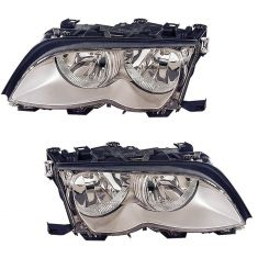02-05 BMW 3 Series SDN & SW Halogen Headlight (w/Chrome) PAIR