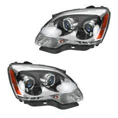 07 GMC Acadia; 08-09 Acadia (w/Blue Lens) Halogen Headlight Pair