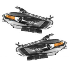 13 Dodge Dart Halogen Headlight w/Black Trim PAIR