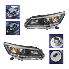 13-14 Honda Accord EX-L Sedan w/3.5L Halogen Headlight PAIR