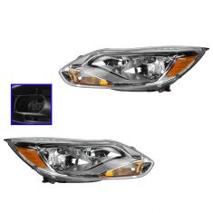 12 (from 2/06/12)-14 Ford Focus L; 13-14 Focus S, SE Halogen Headlight w/Aluminum Trim PAIR