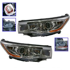 14-16 Toyota Highlander (w/Bright Chromed Housing) Headlight Pair