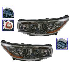 14-16 Toyota Highlander (w/Smoked Chromed Housing) Headlight Pair
