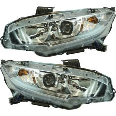 16-17 Honda Civic Halogen Headlight LH RH Pair