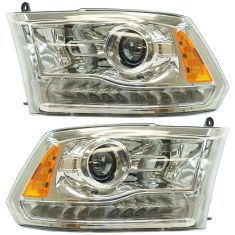 13-15 Ram 1500; 13-16 2500, 3500 (Chrome Bi-Functional Halogen Projector Design) Headlight Pair