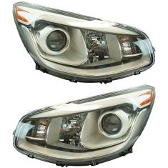 14-16 Kia Soul (Projection Style w/LED Accent) Halogen Headlight LH RH Pair