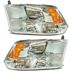 13-17 Dodge Ram 1500; 12 (frm 7-23-12)-17 2500, 3500 Quad Halogen w/Chrome Bezel Headlight Pair