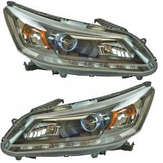 14 Accord Hyb Sdn (w/6th Vin Digit 5);14-15 Accord Hyb SdnTouring (w/6th Vin Digit 6) LED Headl Pair