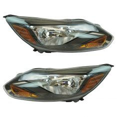 12 Ford Focus; 13-14 Focus ST, Titanium Halogen Headlight w/Black Trim LH RH Pair